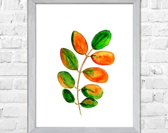 Leaves Watercolor Painting, Botanical print, Green Leaf, Wall Art, Green Decor, Modern Wall Art, Nature Art, Minimalist Abstract Poster