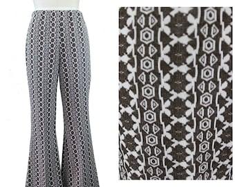 Printed Flare Pants / Tribal Print Flare Pants / 70s Stretch Flare Pants / Festival Print Pants / Vintage Festival Flare Pants / Boho Pants