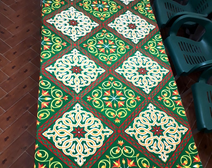 Colorful tablecloth pattern spring Argyle arabesque picnic ethnic decor lotus flowers outdoor table or sofa throw