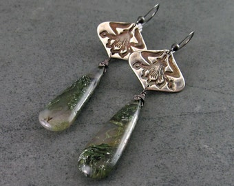 Moss agate earrings, handmade eco friendly fine silver Art Nouveau earrings-OOAK