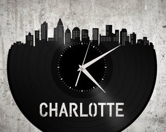 Charlotte NC Clock, Charlotte Skyline, North Carolina Wedding Gift, Personalized Clock, Unique Gifts For Mom From Daughter, For Mom Birthday