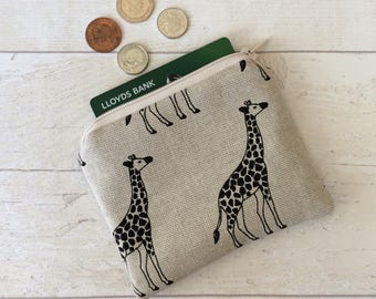Giraffe coin purse, money purse, giraffes purse, money pouch, small zipper pouch, coin pouch, beige pouch, card wallet