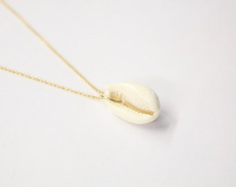 gold plated cowrie shell necklace / gold plated shell necklace