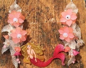 Mermaid beaded bib necklace