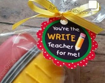 INSTANT DOWNLOAD - Printable Teacher Appreciation - Write Teacher - Cupcake Toppers - Tags