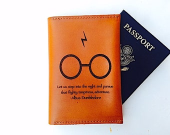 Harry Potter Gift, Passport Holder, Travel, Personalized, Gifts for Her, Leather Passport Wallet, Dumbledore, Graduation Gift, Adventure,