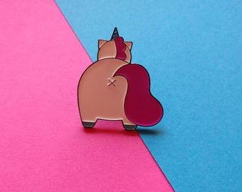Super Cute Unicorn Butt Pin - Unicorn Pin - Cute Animal Pin - Lapel Pin - Pins - Pin Badge - Enamel Pin - Butt Pin - Cute Pin