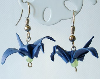 Handmade Origami Earrings with Cranes of Happiness Metallic Paper Blue Lime Glitter
