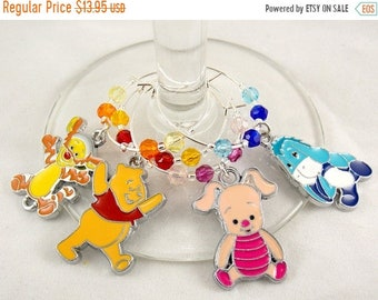 """Wine Charms Set of 4 Disney Inspired """"Winnie the Pooh and Friends"""" Handmade Swarovski Crystal His and Hers - Wedding Birthday Holiday Party"""