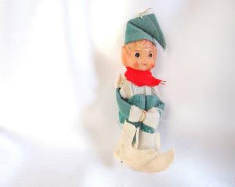 Small Green Elf Ornament, Knee Hugging Faded Christmas Elf