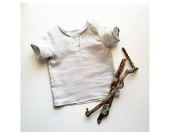 Stone Grey Linen Toddler Shirt Handmade by Papoose Clothing