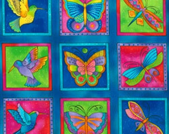 Laurel Burch Fabric Butterflies, Dragonflies, Humming Birds Dk Aqua Squares Flying Colors II 3 Rows 832-34