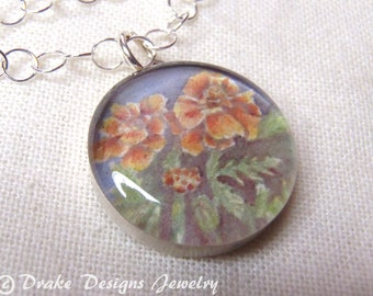 Birth Month Flower Necklace...  October... Sterling Silver Watercolor with Meaning Card