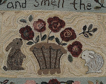 Roses and Bunnies rug hooking pattern on primitive linen/Stop And Smell The Roses/vintage look