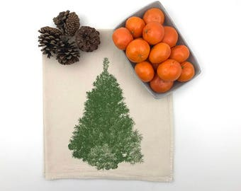 Pine Tree Natural Flour Sack Tea Towel - Hand Screen Printed - Holiday Hostess Gift - Stocking Stuffer
