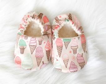 SALE!! Organic Ice Cream Shoes,  Newborn-Toddler, baby shoes, baby moccs, organic baby, crib shoes, vegan, moccs, ice cream