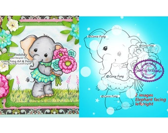 Digital Stamp, Digi Stamp, Digistamp, Ellie Bouquet by Conie Fong, Coloring Page, Mother's Day, Elephant, Birthday, flowers, girl