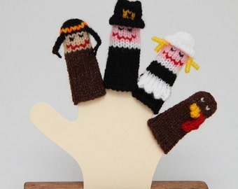 Thanksgiving Finger Puppet Set (Includes Indian, Boy Pilgrim, Girl Pilgrim, and Turkey.)  We can create custom orders.