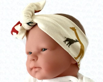 Organic headband, baby bow headband, baby girl headband, newborn headband, headwrap for baby, baby knot headband, African headband