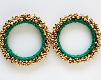 30% off Green & Gold Bangle/ Beaded Bracelet/Beaded Bangle/ Ethnic Bracelet/ Chunky Bracelet/ Bangle Bracelet/ Cuff Bracelet - 2 PIECES