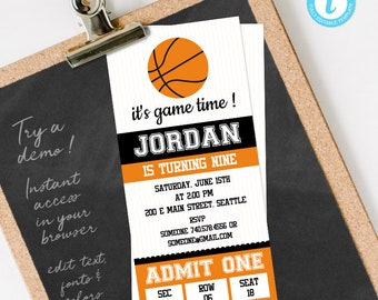 Basketball Ticket Invitation Template, Basketball Birthday Invitation, Basketball Birthday Party Invite DIY Instant Download editable text