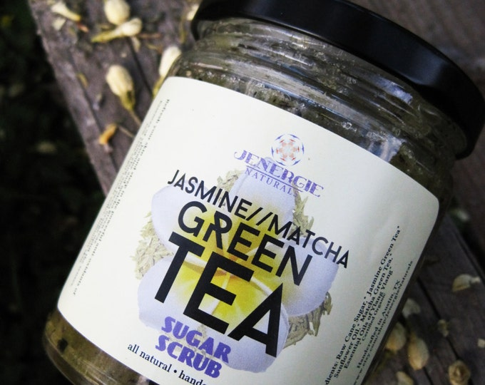 Featured listing image: Sugar Scrub /// Jasmine Matcha Green Tea /// Organic Ingredients~ Great gift for sister, mother, co-worker, best friend, aunt, grandmother!