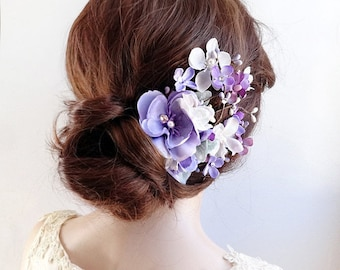 floral hair piece, floral hair comb, purple hair clip, bridal hair piece, purple wedding, bridal hair flower, lilac, ivory flower hair clip