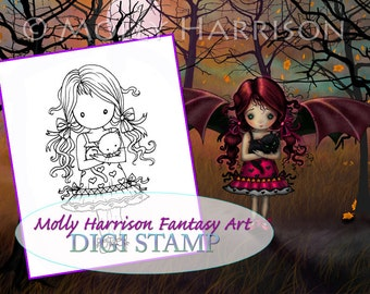 Printable - Instant Download - Digital Stamp - Little Girl Holding Kitty Cat - Fantasy Art by Molly Harrison - Digistamp, Coloring Page