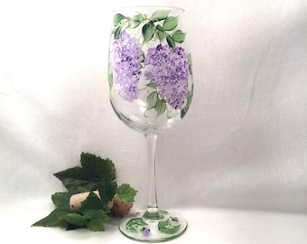 Free shipping Lilacs hand painted on  wine glass