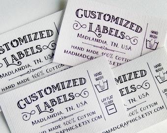"Custom Fabric Labels, Retro, Care Added, 32 Labels  2w"" x 1.25h"" Uncut •  Colorfast 100% Preshrunk Cotton, CPSIA Compliant"