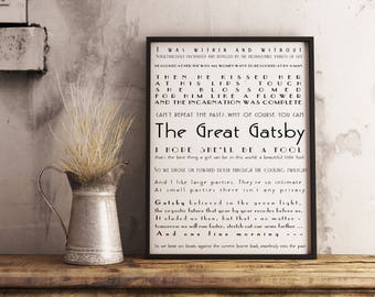 Framed Art Print - The Great Gatsby Quotes Print, Literary Art Poster, framed print, F Scott Fitzgerald book bedroom decor, Black & White