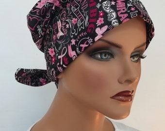 Sandra Women's Surgical Scrub Cap, Cancer Hat, Chemo Head Scarf, Alopecia Head Wrap, Cancer Gift, Hair Loss Breast Cancer Chalkboard