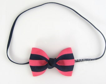 Baby Headband in Navy Blue and French Pink - Striped Bow Headband Pinched Style Skinny Elastic - Custom Sized Baby Toddler Girl Preppy