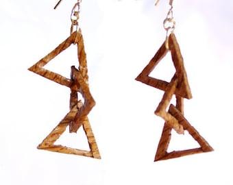 """Earrings made of oak """"Triangles"""""""