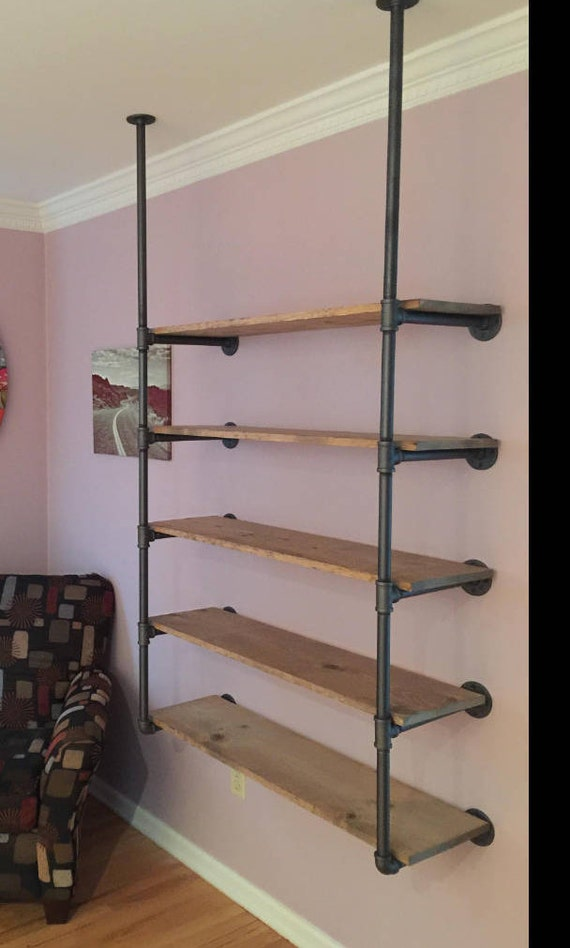 Ceiling Attached Pipe Shelving Pipe Bookcase Open Shelving