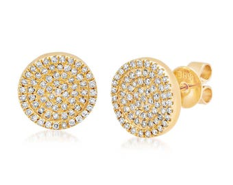 0.30 CT 14K Yellow Gold Round Cut Pave Diamond Circle Stud Earrings 100% Natural