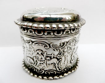 Solid silver trinket box, continental silver, embossed Dutch  rural scenes, SBL imported 1892