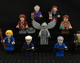 Dr Who Custom 9 pc Minifigure Set BBC River Song, Clara Oswald, Weeping Angel, 4th, 9th, 11th and 12th Doctors USA Fast!