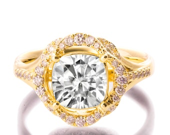 Moissanite Engagement Ring, Yellow Gold Flower Ring, Unique Engagement Ring, Forever Brilliant, Cushion Moissanite Ring, Forever One, r022