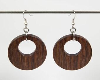 Santos Rosewood Earrings, Wooden Hoop Earrings, Creole Earrings, Wood Earrings, Wood Dangle Earrings, Wooden Earrings, Wooden Drop Earrings