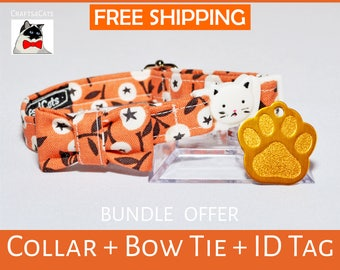Cat collar gift bundle 'White Berry' cat id tag + breakaway collar + bow tie and bell - kitten collar - cat collar
