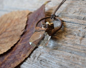 Clear Quartz Crystal with Pyrite Necklace