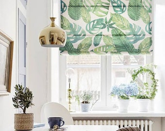 Big Green Leaves, custom curtains, blackout curtains, fabric roman shades, flat & fold with cords roman shades, kitchen bedroom living room
