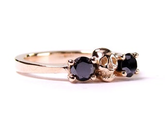 Rose Gold Skull Wedding Ring Black Diamond Coloured Gold Solid 14K Gold Ring Unique Rock and Roll Wedding Ring Non-traditional Womens Band