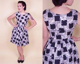 Vtg Late 50s (early 60s) Black & White Flower Dress Fifties Sleeveless