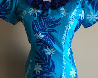 Gorgeous and vibrant vintage KARYL KAYE Polynesian style floor length dress.