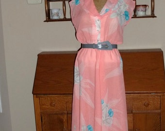 Peach Party Dress by Judy Caliendo for Together NY 70's, size 5-6, Floral Fantasy with belt, sheer dress,Classy Vintage