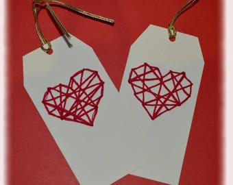"""Set of 5 gift tags """"Heart"""" yarn embroidery"""