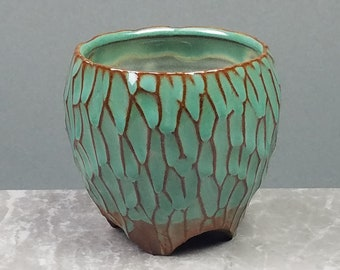 Carved Green Whiskey Tumbler