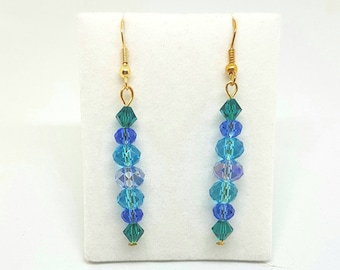 Blue Beaded dangle earrings glass pearls and crystals gold jewellery